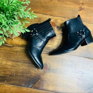 H Halston Black vegan leather ankle boots size 8